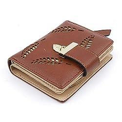 Women Fashion Leaf Bifold Wallet Pu Leather Clutch Card Holder Purses Handbag Color Coffee