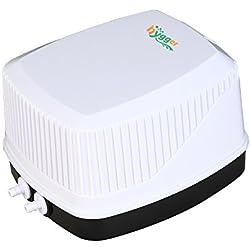 Hygger Quiet High Output 10W Aquarium Air Pump, Premium Oxygen Pump Air Aerator Pump for Fish Tank 30-600 Gallon, 2 Air Outlets (4mm), 250GPH, 100-120V, 0.03MPa (White)