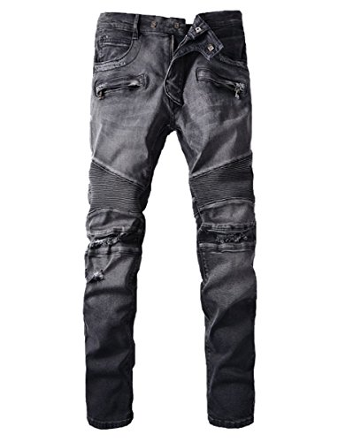 Men's Distressed Knees Ripped Slim Fit Biker Jeans Zips Deco Black Grey 42