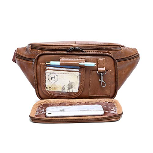 Genuine Cowhide Leather Large 7 Pocket Waist Pack with Organizer, Card Slots (Cowhide ()