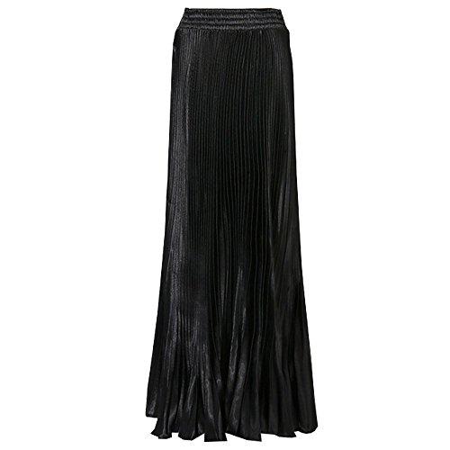 BOZEVON Femme des Haute Taille Jupe Double Mousseline De Soie Plissee Longue Robe Noir