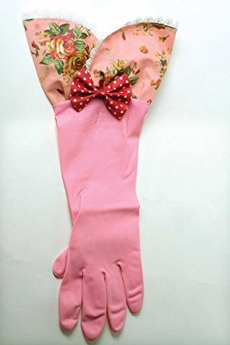Victorian Trading Co Shabby Chic Pink Rubber Dish Washing Gloves with Ruffle (Shabby Dishes Chic)