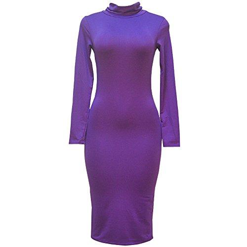 泳ぐ花束委託KINDOYO 女性の長袖のタイトフィットのドレス高襟ソリッドカラーミニスカート美しさのラインの綿の綿 (パープル, M)