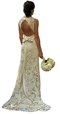 Isabelwedding Women's V Neck Lace Applique Keyhole Bowknot Fishtail Wedding Dress