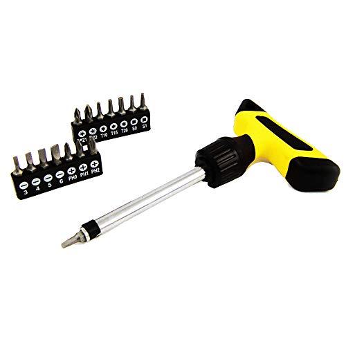 Universal 16pc Deluxe T-Handle Ratchet Screwdriver Set (Torx, Slotted, Phillips, Square, PoziDriv) -