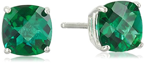 (Sterling Silver Cushion-Cut Checkerboard Created Emerald Stud Earrings)