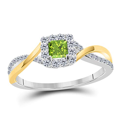 DS Jewels Infinity Engagement Ring 14K Two Tone Plated Alloy Princess Cut CZ Green-Peridot Solitaire Ring Size 4 to 11