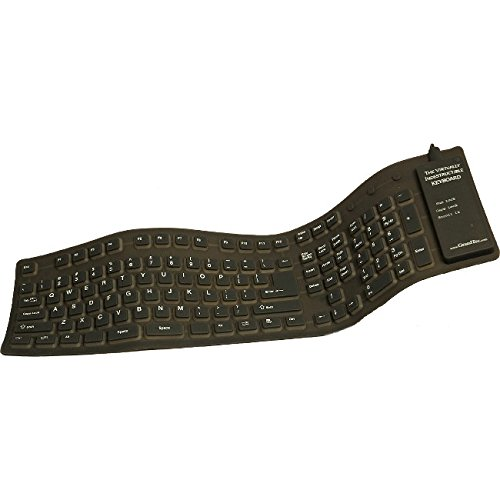 GrandTec FLX-2000 Virtually Indestructible Flexible Silicone USB Computer Keyboard, Cable Keyboard Connectivity Technology, 109 Number of Keys, Power Hot Keys, Qwerty Keys Layout, Black - Pack of 12 by GrandTec (Image #1)