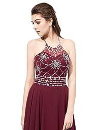 Belle House Women\'s Long Beaded Prom Dress Halter Homecoming Dress Backless Maroon