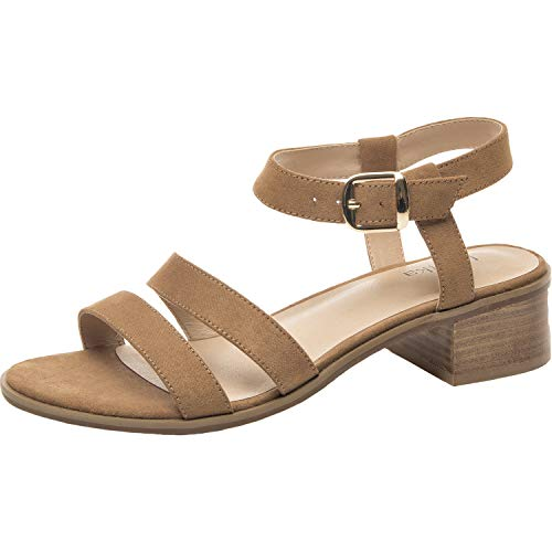 Luoika Women's Wide Width Heeled Sandals - Low Block Heel Open Toe Double Strap Summer Shoes.(181134,Brown,9.5)