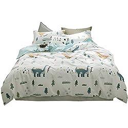 BuLuTu Dinosaur Print 3 Pieces Kids Bedding Sets Twin White for Boys Girls 100% Cotton,Premium Reversible Dino Forest Duvet Cover Set Zipper Closure,Breathable,Soft,Cute,NO Comforter