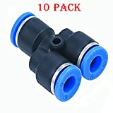 Utah Pneumatic10 pack 6 mm to 6 mm OD Y spliter High Qulity Push To Connect Air Line Fittings Plastic Tube Connectors Y Union Push Lock Air Fittings (6 mm y shaped)