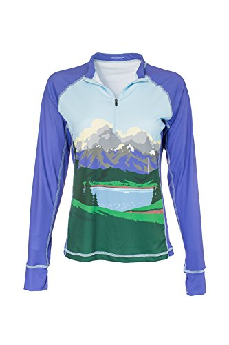 Bold Babe Women's Sun Protective Long Sleeve Zip Neck - SPF Clothing Perfect for Enjoying The Outdoors - Mountain Majesty (Small) (Babe Tee Ladies Long Sleeve)