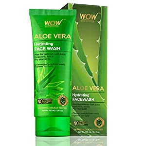 WOW Skin Science Aloe Vera With Hyaluronic Acid and Pro Vitamin B5 Hydrating Gentle Face Wash – No Parabens, Silicones…