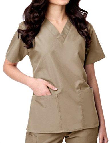 (Maevn Womens Unisex V-Neck Two Pocket Scrub Top and Flare Leg Pant Set Khaki Large)