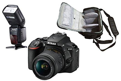 D5600 DSLR Camera + AF-P 18-55mm VR + KamKorda Pro Camera Bag + Pro Speedlite Flash