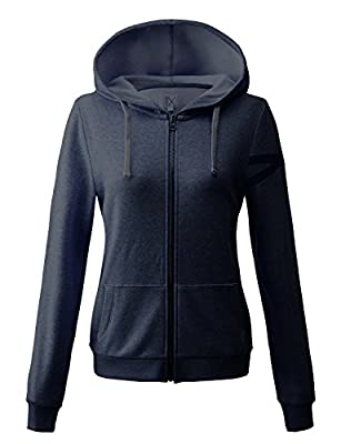 Regna X basic women's long sleeve plain color thin thermal active hooded jacketSmall16321_melange Navy