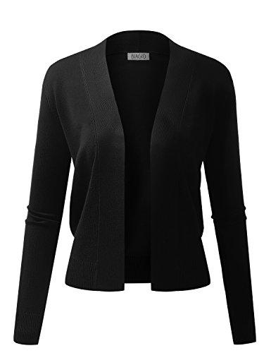 BIADANI Women Classic Long Sleeve Crop Cardigan Black Large