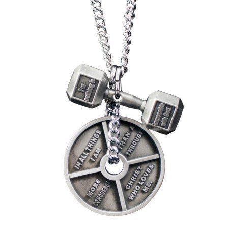 Men's Antique Necklace-Lk 1:37 Dumbbell/Ro 8:37 Weight Plate ()