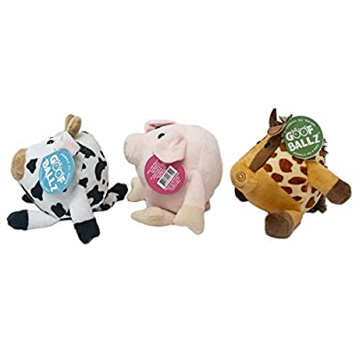 Goofballz Plush Stuffed Animals 3-Pack   Farm Animals Pig, Horse, and Cow for Boys and Girls All Ages   Adorable, Soft, Cute and Cuddly Kids Toys   Stuffed Animal Bundle, 6 inches Each: Toys & Games