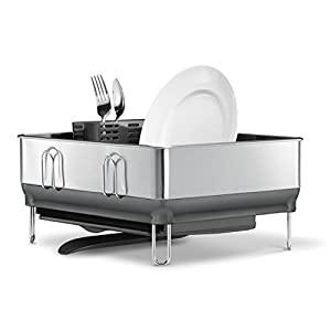 simplehuman Kitchen Compact Steel Frame Dish Rack with Swivel Spout Fingerprint-Proof Stainless, Grey Plastic