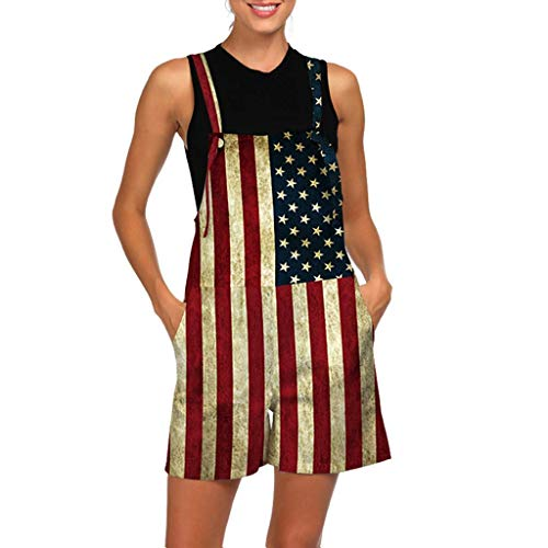 Fashion Jumpsuit Rompers for Women National Flag Print Shorts Jumpsuit Ladies Mini Bib Overall Dress with Pocket Red S