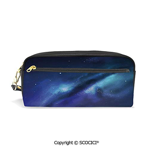 Students PU Pencil Case Pouch Women Purse Wallet Bag Milky Way Inspired Nebula Cluster Galaxy Fantastic Cosmos Constellation Decorative Waterproof Large Capacity Hand Mini Cosmetic Makeup Bag