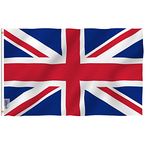 (Anley Fly Breeze 3x5 Foot United Kingdom UK Flag - Vivid Color and UV Fade Resistant - Canvas Header and Double Stitched - British National Flags Polyester with Brass Grommets 3 X 5 Ft)
