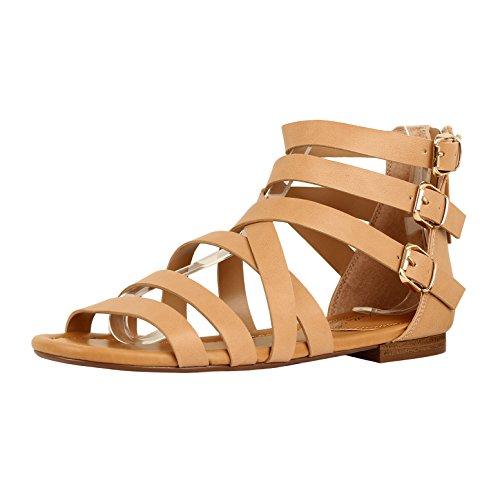 Guilty Heart Womens Sexy Versatile Strappy Platform Stiletto Block Heel Ankle Strap Sandal Sandals, Natural PU, 8 B(M) US