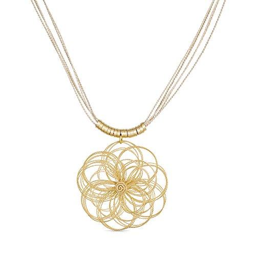 LuxJewel Woman's Gold Plated Pendant Necklace Elegant Flower Shape Buriti Straw Fiber