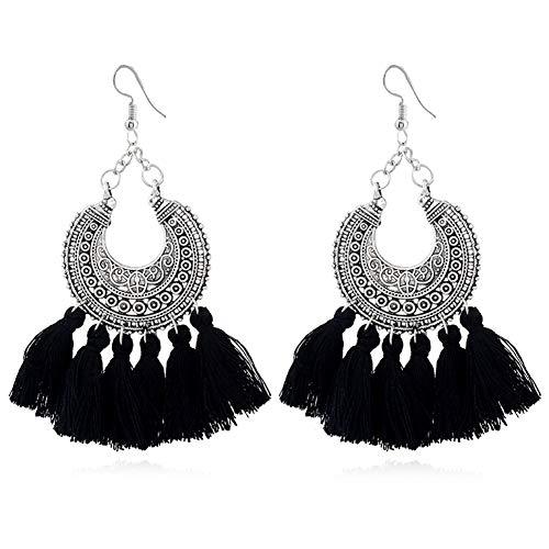 d60891ebb8f88e Hanloud Boho Tassel Earrings for Women Vintage Statement Fringe Tassel  Dangle Earrings