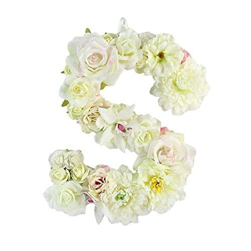 Floral Letter (Handmade flower letter F Baby Shower Floral Monogram Letter Floral Wedding Decoration (S))