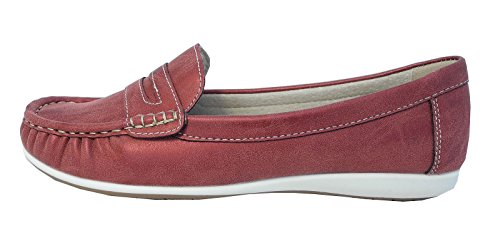 Womens Ladies Leather Lined Boat Deck Shoes Loafers Blue Red Size 3 4 5 6 7 8 Red LTtna2Xow