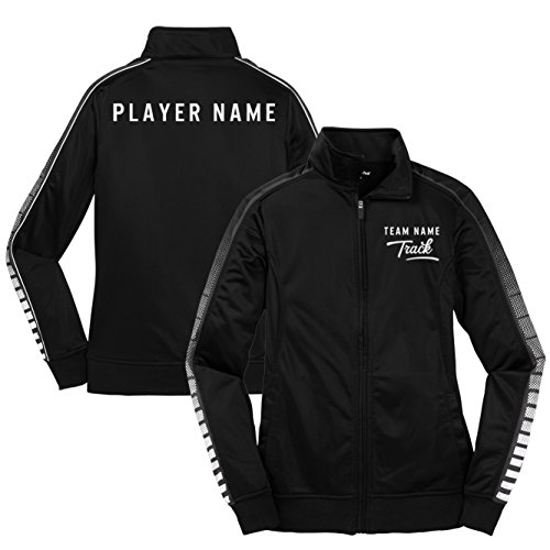 - KAMAL OHAVA Custom Women's Athletic Team Warm Up Jacket, XL, Black/Iron Grey