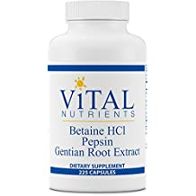 Vital Nutrients - Betaine HCL Pepsin & Gentian Root Extract - Powerful Digestive Support for the Stomach - 225 Capsules