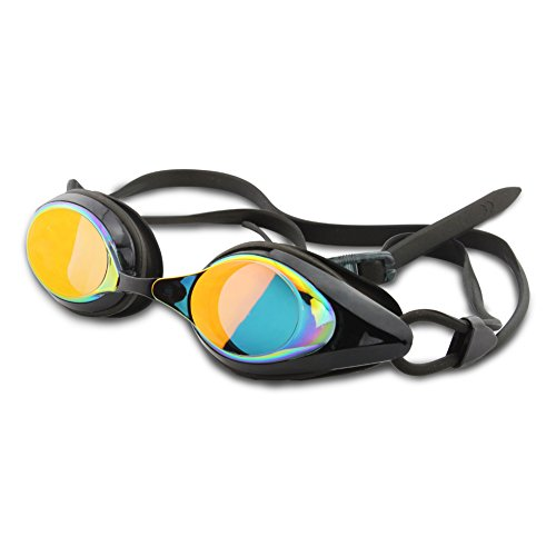 Duco Swimming Goggles with Adjustable Nose Bridge Perfect for Adults, Kids and Youth - UV400 protection, Anti-shatter, Super anti-fog, Low Profile Competitive Goggle for Racing or Training - Profile Low Sunglasses