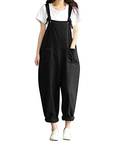 LVCBL Women Loose Overall Sleeveless Long Playsuit Jumpsuit Haren Trousers Pants Black L