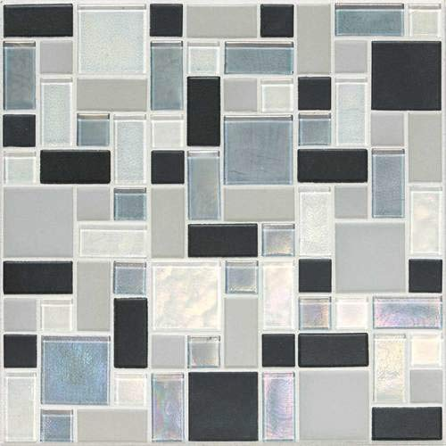 Keystones Blends Random Sized Block Ceramic with Oceanside Glass Mosaic in Tropical Thunder