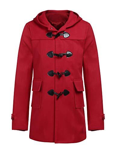 COOFANDY Men's Woollen Duffle Trench Coat Cotton Toggle Winter Hoodie Overcoat Jacket