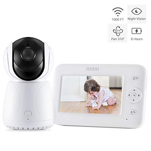 Bable GR-02 Baby Monitor, 4.3 inch Video Baby Monitor with Camera, Remote Pan Tilt, Infrared Night Vision, Sound Detection, Intercom, Temperature Monitoring, Lullabies and Long Battery Life