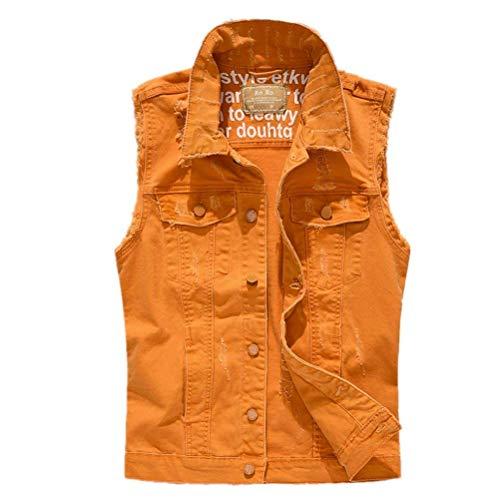 Los Primavera De Mangas Hombre Naranja Sin Clásico Saoye De Mezclilla para Hombres Chaqueta De Letra Chaleco Abrigo Abrigo Retro Chaqueta La Fashion Ropa De Mezclilla Abrigo La De De Otoño UOOtqg
