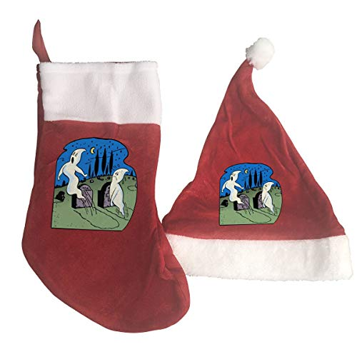 Reject Ghost Christmas Stocking, 2PCS Christmas Stocking and Santa HAT~New Christmas Decorations Party Accessory
