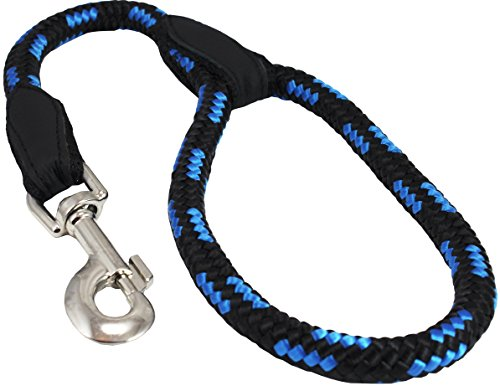 (Dogs My Love 18-inch Rope Dog Leash Short (Blue/Black, Large 1/2