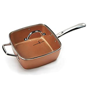 """Copper Chef 4 PC 9.5"""" Deep Square Pan Set, 6-In 1- Chef Pan"""