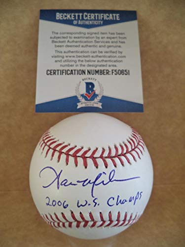 AARON MILES 2006 W.S. CHAMPS SIGNED 2006 WORLD SERIES BASEBALL BECKETT - 2006 Series Champs World