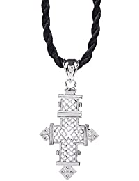 Ethiopian Cross Pendant Necklaces Chain Sliver Plated Jewelry