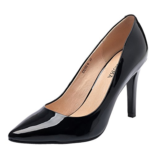 High Woman Pumps Heel Toe Pointed Shoes Black Leather Shoes ZAPROMA XHw1qX