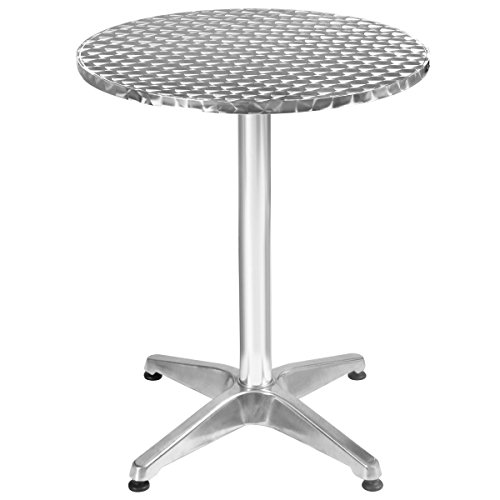 Giantex Bar Height Pub Table Bistro Bar Table Stainless Steel Square Top Indoor-Outdoor Furniture Bar Round Portable Table, Silver (23.5'' Round) by Giantex (Image #4)