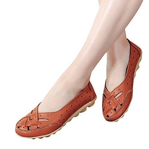 Blivener Kvinna Tillfälliga Loafers Ihåliga Platta Skor Kör Skor Apelsin