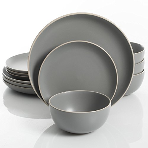 Gibson Home Rockaway 12-Piece Dinnerware Set Service for 4, Grey Matte - 114388.12RM (Gray Sets Dish)